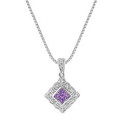 Princess Cut Lavender Sapphire and Round Diamond Pendant (18 in.)