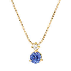 Round Kentucky Blue Sapphire and Diamond Pendant (18 in.)