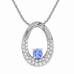 Ice Blue Sapphire and Diamond Circle Pendant (18 in.)