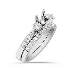 Three-Stone Cathedral Diamond Wedding Set