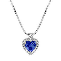Heart Shaped Sapphire and Round Diamond Pendant (18 in.)