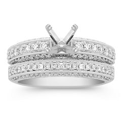 Diamond Platinum Wedding Set with Pave Setting