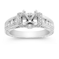 Vintage Cathedral Diamond Engagement Ring with Pave and Channel Setting