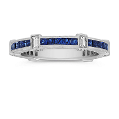 Princess Cut  Sapphire and Baguette and Round Diamond Ring