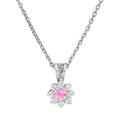 Round Pink Sapphire and Diamond Pendant (18 in.)