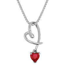 "Heart Shaped Ruby Heart Pendant (18"")"