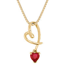 Heart Shaped Ruby Heart Pendant (18 in.)