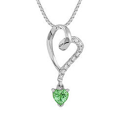 Heart Shaped Green Sapphire and Diamond Heart Pendant (18 in.)