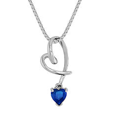 Heart Shaped Sapphire Heart Pendant (18 in.)