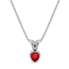 "Heart Shaped Ruby Pendant (18"")"