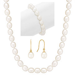 "8mm Cultured Freshwater Pearl Strand, Bracelet, and Earring Three-Piece Set (18"")"