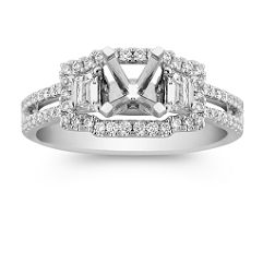 Halo Trapezoid and Round Diamond Engagement Ring