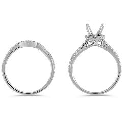 Halo Diamond Wedding Set with Pave Setting