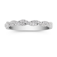 Swirl Diamond Wedding Band with Pavé Setting