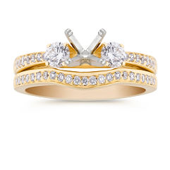 Three-Stone 18k Gold Diamond Wedding Set