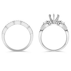 Swirl Pear Shaped and Round Diamond Wedding Set with Pavé Setting