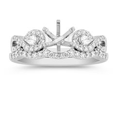 Swirl Pear Shaped and Round Diamond Wedding Set with Pave Setting