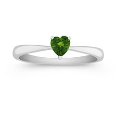 Heart Shaped Green Sapphire Ring