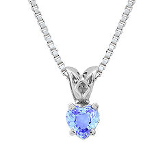 Heart Shaped Ice Blue Sapphire Pendant (18 in.)