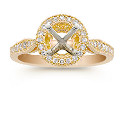 Halo Diamond 18k Gold Engagement Ring