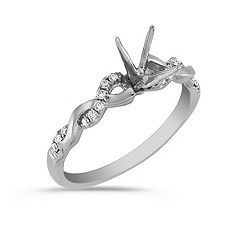 Swirl Diamond 14k White Gold Engagement Ring