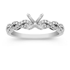 Swirl Diamond Engagement Ring with Pave Setting