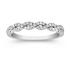 Pave Set Diamond Ring with Twist Design