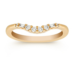 Baguette and Round Diamond Contour Anniversary Band