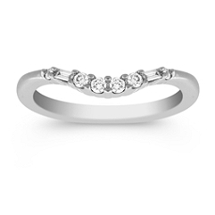 Baguette and Round Diamond Contour Wedding Band in Platinum