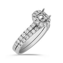 Halo Diamond Wedding Set