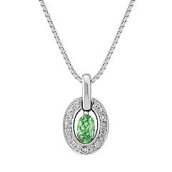 Oval Green Sapphire and Diamond Pendant (18 in.)