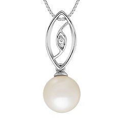 Freshwater Pearl and Diamond Pendant (18 in.)