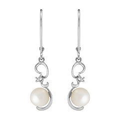 6mm Cultured Freshwater Pearl and Diamond Earrings
