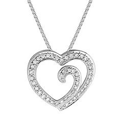 "Round Diamond Heart Pendant (18"")"