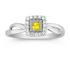 Princess Cut Yellow Sapphire and Diamond Ring