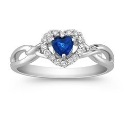 Heart Shaped Sapphire and Diamond Ring
