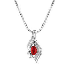 Marquise Ruby and Diamond Pendant (18 in.)