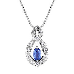 Oval Kentucky Blue Sapphire and Diamond Pendant (18 in.)
