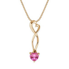 Heart Shaped Pink Sapphire Heart Pendant (18 in.)