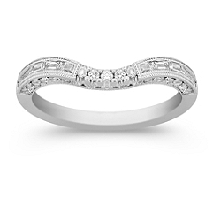 Round and Baguette Diamond Contour Anniversary Band in Platinum