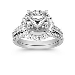 Halo Diamond Wedding Set with Pavé Setting