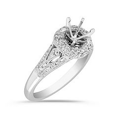 Halo Diamond Platinum Engagement Ring with Pavé Setting