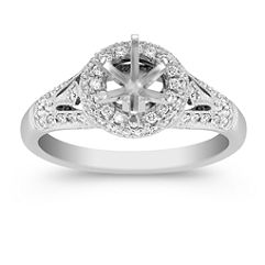 Halo Diamond Platinum Engagement Ring with Pave Setting