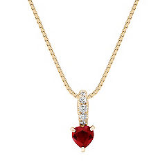 "Heart Shaped Ruby and Diamond Pendant (18"")"