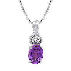 Oval Lavender Sapphire and Diamond Pendant (18 in.)