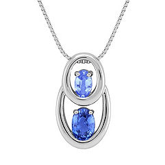Oval Multi-Colored Sapphire Pendant (18 in.)