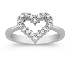 Round Diamond Heart Ring