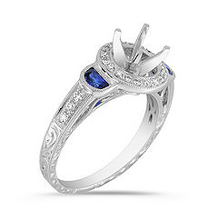 Vintage Half Moon Shaped Sapphire and Diamond Platinum Engagement Ring