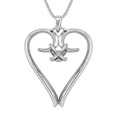 14k White Gold Heart Pendant (18 in.)