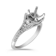 Cathedral Diamond Platinum Engagement Ring with Pave Setting